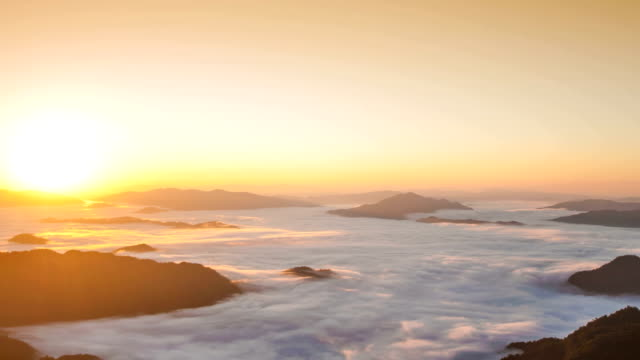 Sunrise and mist on mountain view at the north of thailand video