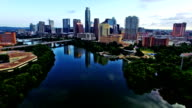 Sunrise Austin Texas Skyline Cityscape Calm Still reflections on Town Lake 4K video