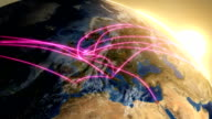 Sunrise Earth with Graphic Motion of Major European Trade Routes. video