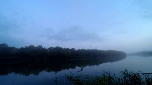 Sunrise  in  Fog on River Water. video