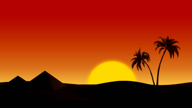 Sunrise in the desert on the pyramids and palm trees video