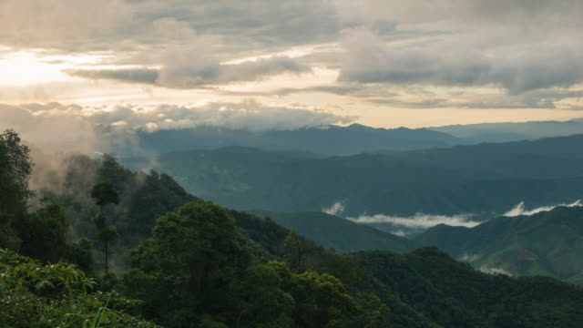 Sunrise in the Thailand with foggy over mountain video