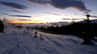 Sunrise in Winter Carpathian Mountains and Snowstorm. video