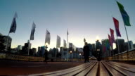 Sunrise Moment At Pyrmont Bridge Over Darling Harbour video