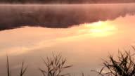 Sunrise on the lake, sunrise over river, morning landscape video