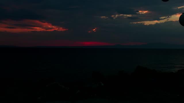 sunrise on the quay with lanterns video