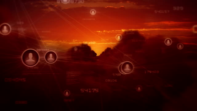 Sunrise over clouds with social networks. video