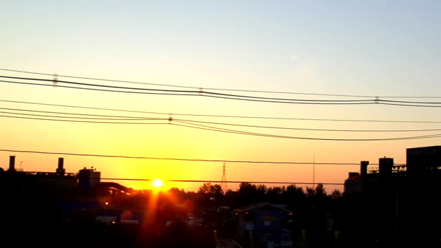Sunrise over industrial wasteland video
