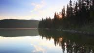 Sunrise over mountain lake video