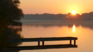 Sunrise over River With Jumping Fish video