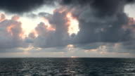 Sunrise over sea on Mauritius with dramatic sky video