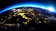 Sunrise over the earth seen from space.Close up of Italy and Europe zone.with night time and sunrise. video