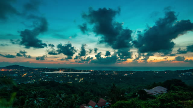 Sunrise over the island 4K video