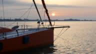 sunrise over yachting marina video