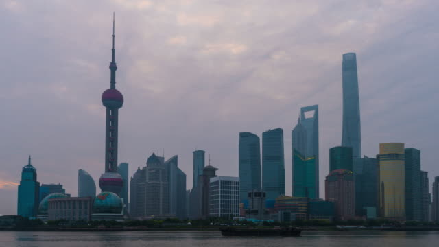 Sunrise Skyline view from Bund waterfront on Pudong New Area- the business quarter of Shanghai . video