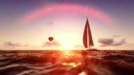 Sunrise summer scene, air balloon and yacht sailing, flight over sea video