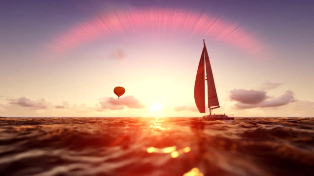 Sunrise summer scene, air balloon and yacht sailing, flight over sea video