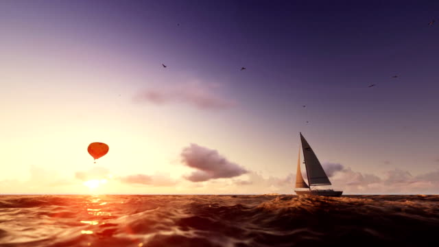 Sunrise summer time, air balloon and yacht sailing, flight over sea video