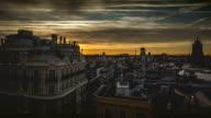 Sunrise timelapse of Madrid cityscape video