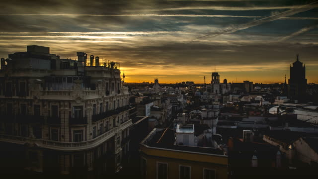 Sunrise timelapse of Madrid cityscape video
