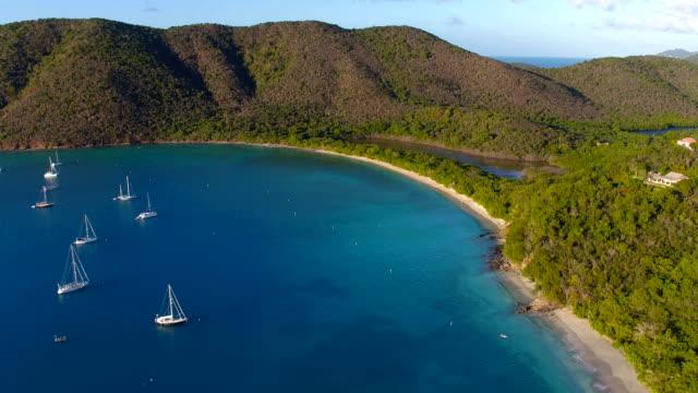 Sunset aerial view of Francis Bay, St.John, US Virgin Island video