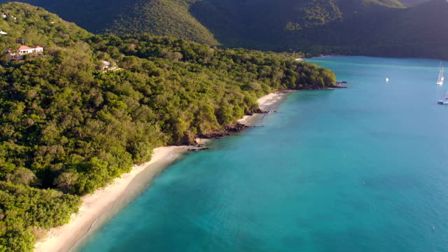 Sunset aerial view of Francis Bay, St.John, US Virgin Islands video