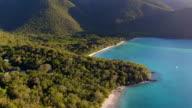Sunset aerial view of Maho Bay, St.John, US Virgin Islands video