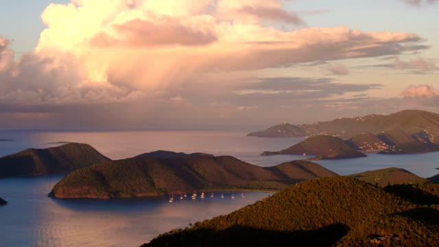 Sunset aerial view of north shore, St John video