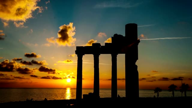Sunset  and anciend ruines video