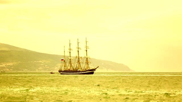 sunset and beautiful tall ship video