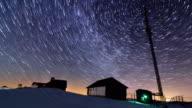 Sunset and stars at dusk in Carpathian mountain range. video