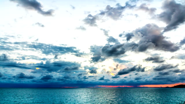 Sunset and storm front with rain over the sea video