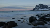 Sunset at a Lofoten Norway beach in winter video