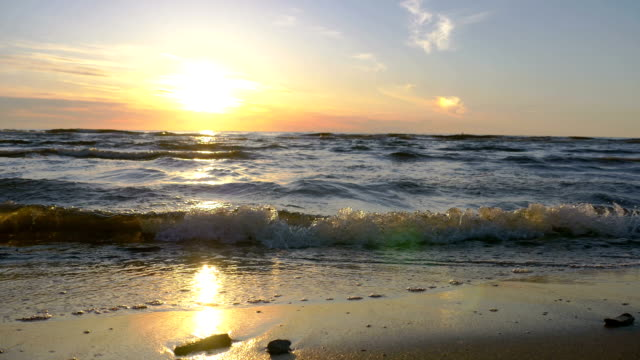Sunset at  Baltic beach video