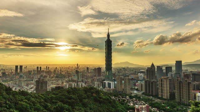 Sunset at City of Taipei from day to night, Taiwan video