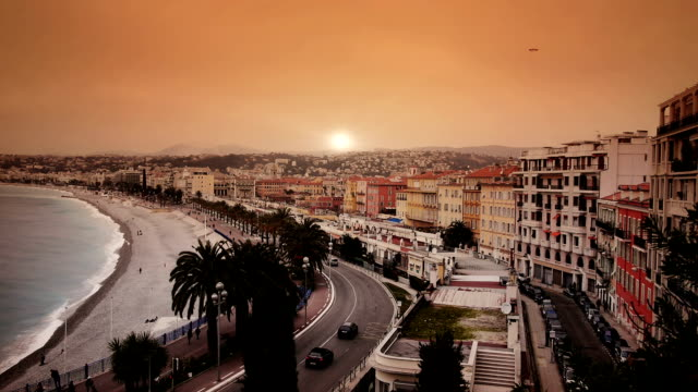 Sunset at French riviera video