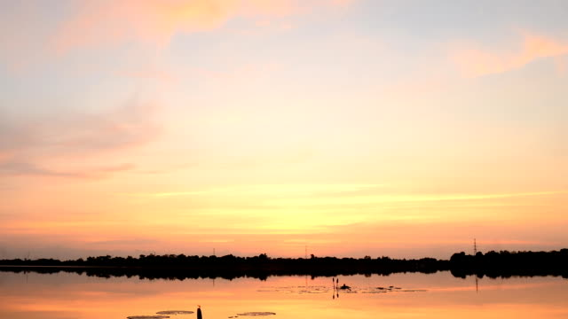 Sunset at lake video