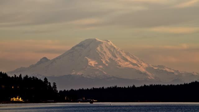 Sunset at Mount Rainier video