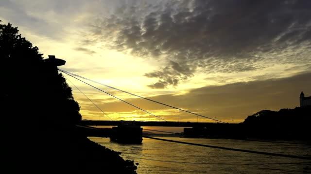 Sunset at river danube,Bratislava,Slovakia video