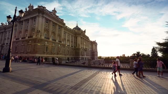 Sunset at Royal Palace or Palacio Real in Madrid video
