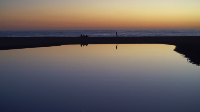 Sunset at the Venice Beach, Santa Monica, California, USA. Some people make exercise and jogging in the background. video