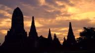 WS PL Sunset at Wat Chaiwatthanaram ,Ayutthaya, Thailand video