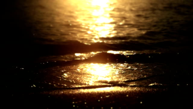 sunset beach wave slow motion video