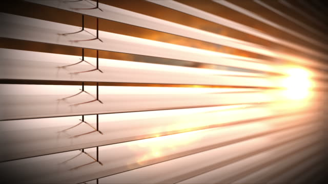 Sunset behind vertical blinds. Loopable CG. video