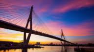 Sunset Bhumibol 1 Bridge. video