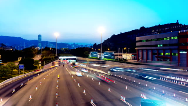 Sunset Busy Traffic Going Into Tunnel. 4k Wide Still Shot. video