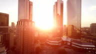 sunset city scenery. skyline aerial view video