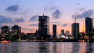 Sunset cityscape of the Tokyo shoreline. video