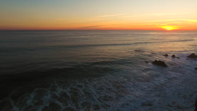 Sunset Deserted Wild El Matador Beach Malibu California Aerial Ocean View - Strong Waves with Rocks video