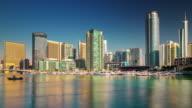 sunset dubai marina yacht dock bay panorama 4k time lapse united arab emirates video